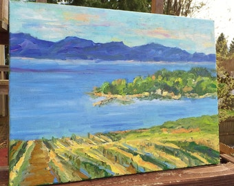 Contemporary Impressionist Landscape Painting in Blues Greens Yellow Bay Painting Ocean Painting Mountain Acrylic Painting Textured Painting