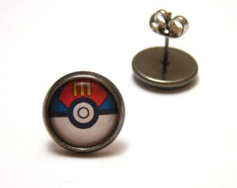 Pokemon Lure Ball Pokeball Studs - Tiny red white and blue pokemaster pokeball post earrings - Geekery Geek Chic Gamer