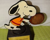 """Valentines Day Sale 1970's Peanuts, Snoopy playing tennis figure, Charles Schulz Creation, """"Worlds Greatest Tennis Player"""" Snoopy!, Hand Pai"""