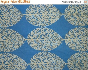 1970's Indonesian Batik, Leaves, Trees  Tropical  Blue & White, Java Batik, Linen Fabric, Javanese, Summer Time Fabric, Circa 1970s