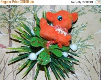 ON SALE Vintage Felt  Red Reindeer Covered Christmas Picks, Pine Needles, Plastic Rudolph Felted Reindeer Floral Pic