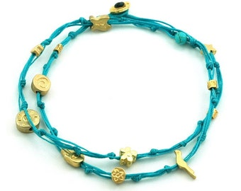 Turquoise Double Wrap Ties and Gold Charms Anklet for Good Luck and Protection