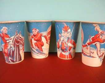 Vintage Set of 4 Frosty Treat Large Pin Up Girl Dixie Cups
