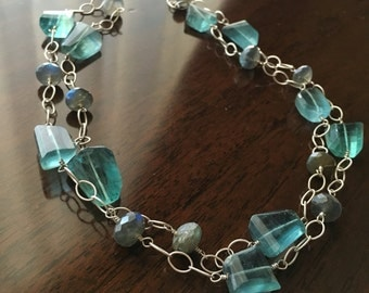 Fluorite and Labradorite Sterling Silver Necklace, Ready to Ship