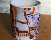 Carousel Horses, Coffee Mug White Horses Blue and White Photo Mug Boyfriend Gift Ceramic Mug Girlfriend Gift Gold And Orange Wife Gift