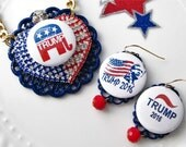Pendant Necklace & Earrings Set. Patriotic. Wear to Rallies and Events. Donald Trump for President 2016. Election. Fun. Kitschy. Collage.