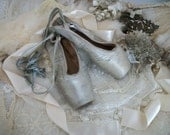 vintage satin ballet pointe toe shoes, well worn, shabby faded green blue color, timeworn, capezio dance, satin ribbon laces, chic color