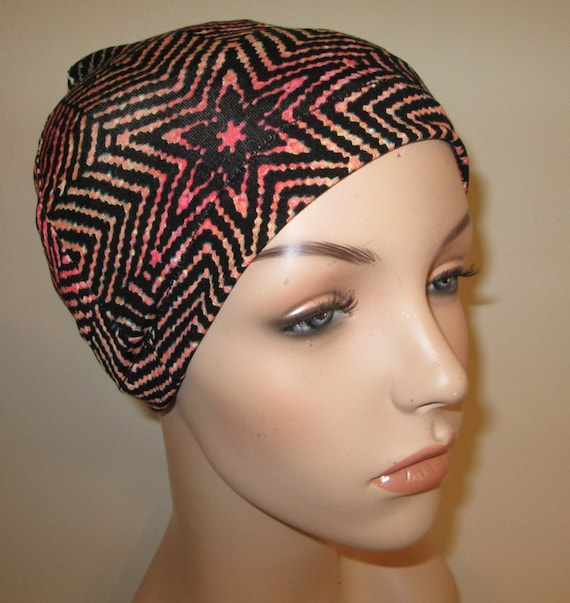 Chemo Hat Lycra  Geometric Print  Play Sleep Cap, Cancer Hat, Alopecia Kids and Adult Chemo Hat
