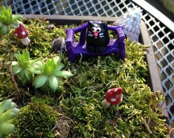 Black Cat, Miniature Cat,  Polymer  Garden Seat, Fairy Garden , Dolls house