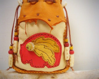 BEAR Deerskin leather MEDICINE BAG, shaman pouch, Spirit Totem pouch, animal spirit guide, Stash tobacco pouch, cell phone bag, tarot bag