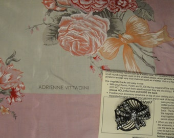Vintage Adrienne Vittadini 34 inch Silk Square Scarf in feminine pastel floral bouquets and bows design, Bonus magnetic bow brooch