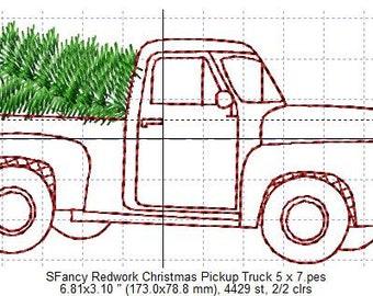 SFancy Redwork Christmas Pickup Truck 5 x 7
