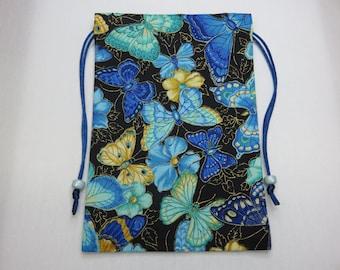 """Blue Butterflies Silk Lined Tarot Card Pouch, Tarot Card Bag, Handmade 5"""" x 7"""" tall, 5 x 7"""