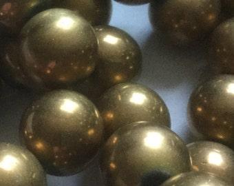 Vintage Glass Beads (6)(15mm) Bronze Glass Beads