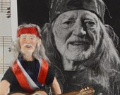 Willie Nelson Country Music Art Doll Miniature Fan Art Collectible
