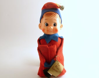 Vintage Christmas Ornament Large Pixie Knee Hugger Elf The Pixie Legend Tag