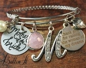 Mother of the BRIDE gift, Mother in law gift, BANGLE bracelet, wedding gifts for mother in law, Woman of my dreams charm bracelet, Initial