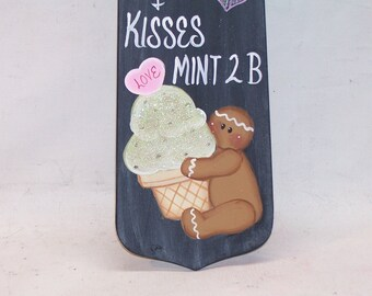 Valentine Hand Painted  Gingerbread Chalkboard  Plaque  Sign  Ice Cream Cone Primitive Folk Art Wall Decor OFG