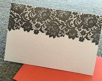 Black Lace - Pair of Letterpress Notecards