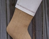 Burlap Stockings Tailored Plain Country French Farmhouse Chic Personalized  Guys Men Boys 261