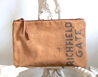 Recycled canvas clutch, large utility bag - Richfield Ohio 1950s park money bag- eco vintage fabrics
