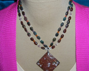 Suit Jewelry!  Fancy Jasper and crystal necklace set N71