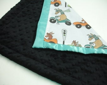 Go Llamas Go Black and Teal with Satin Trim Minky Lovey 16 X 16 READY TO SHIP Clearance Sale