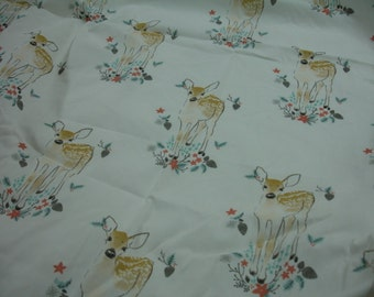 Winter Fawn Fitted Crib Sheet for Mini Crib READY TO SHIP On Sale