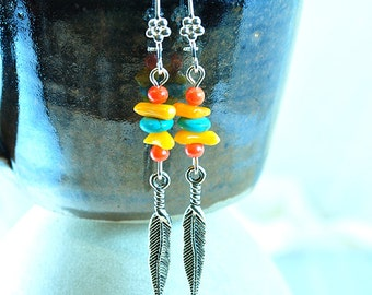 Southwest silver feather boho earrings coral and turquoise western hippie