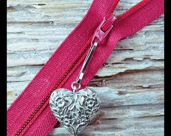 2 Silver Heart lanyard zipper charms, zipper charms