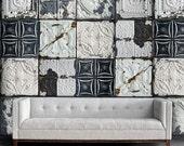 "Vintage Tin Tile Shabby Chic Easy Peel and Stick Wallpaper 8' Panel (96"")"