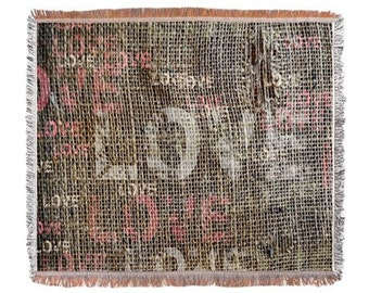 Shabby Chic Burlap Look Throw Woven Blanket or Tapestry