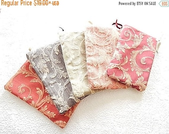 CLEARANCE Upholstery pouch, tapestry zipper pouch, acanthus floral print purse, fabric clutch, flat zipper purse, 5 colors