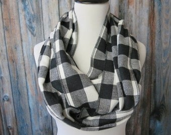 Black Buffalo Plaid Scarf - Black Buffalo Check Scarf - Black Flannel Scarf - Black Plaid Infinity Scarf - Black Gingham Scarf  Gift For Her