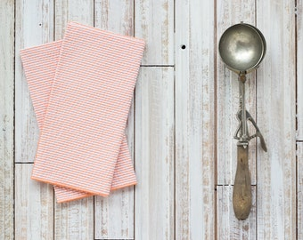 ORANGE Seersucker Cloth Napkins by Dot and Army, set of four cloth napkins
