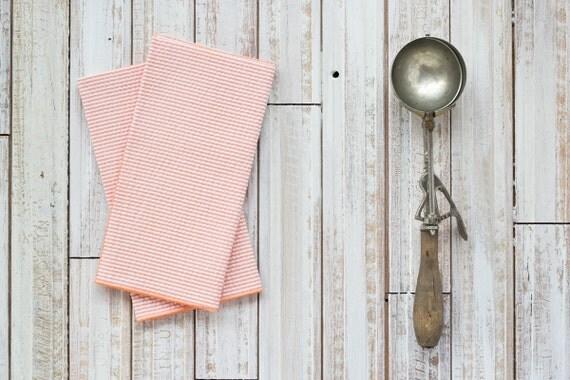 ORANGE Seersucker Cloth Napkins by Dot and Army, set of four cloth napkins