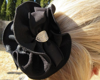 Black Ruffled Bow Hair Claw Clip Large Dressy Jaw Elegant Accessory Rhinestone Ponytail Holder Evening Party Romantic Updo chic Gift For Her