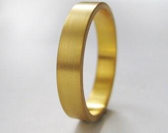 3mm Gold Wedding Band | Slim Recycled 10k 14k 18k Gold Ring | Eco friendly | Flat Edge Wedding Band | Rose White Yellow Gold