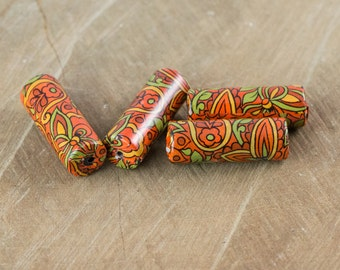 Vintage Rust Orange and Gold Paisley Decaled Beads bds165A