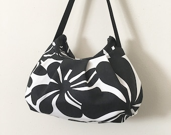 Pleated Bag // Shoulder Purse - Twirly Black/White