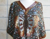 80s sequin disco Butterfly top in earthy colors. Multicolored sequinned butterfly blouson top in browns and iridescent sequin body, S-M.