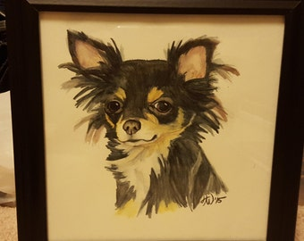 Watercolor Pencil Long-haired Chihuahua Painting Print