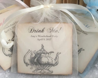 Alice in Wonderland Tea Party Favors Drink Me Set of 10 Tea Bags Fully Assembled Baby Shower Birthday Party