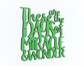 These are the days of Miracle and Wonder (Paul Simon)