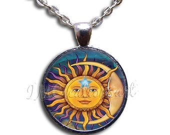 SALE - Sun Moon Celestial Dome Pendant or with Chain Link Necklace  SM176