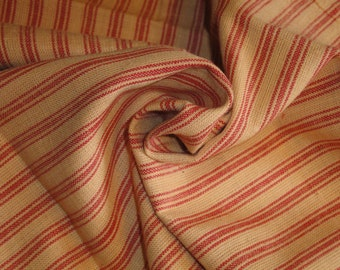 FLAWED Ticking Material | Red Stripe Material | Homespun Material | Homespun Ticking |  Quilt Material | Sewing Material | 20 x 44