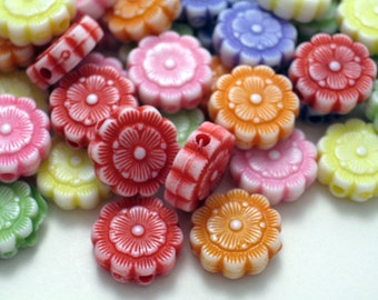 Lucite Small Flower Beads-48Assorted Colors