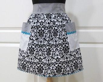 Womens Retro Half Apron, Handmade Modern Chic Cute Kitchen Waist Aprons - Black White Teal