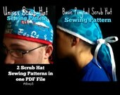 Scrub Hat Sewing Pattern tutorial DIY Instant DOWNLOAD ONLY Ponytail Keeper Scrub Hat and Unisex Men's Scrub Cap pdf Sewing Instructions #db