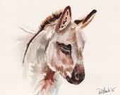 Donkey farmhouse ORIGINAL Watercolor on aquabord 8  x 10 3/4 inch painting by Redstreake